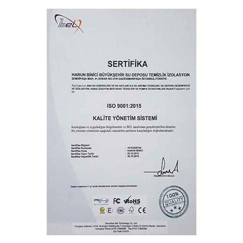 Büyükşehir Su Deposu Temizliği İzolasyon ISO Kalite Sertifikaları